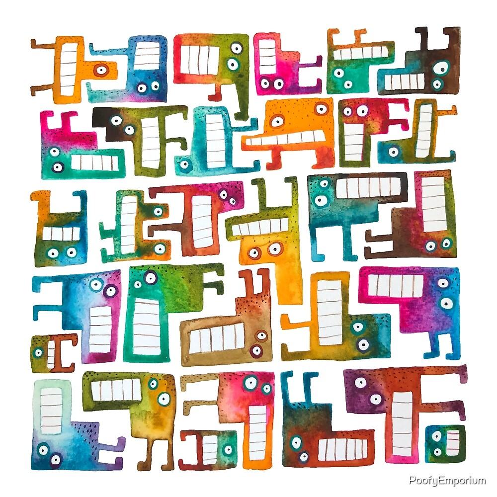Tetris Monster Pattern by PoofyEmporium