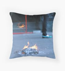 drive by city fire Throw Pillow