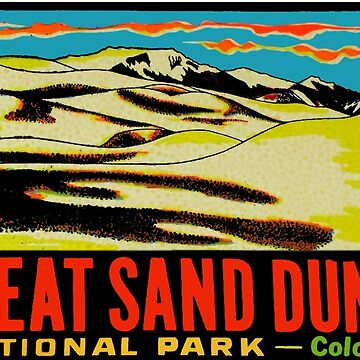 Great Sand Dunes National Park Colorado Vintage etiqueta de viaje de hilda74