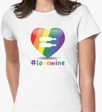 #lovewine (white shadow) Fitted T-Shirt