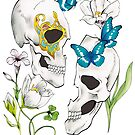 Flower and Butterfly and Skull by TurkeysDesign