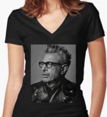 Jeff Goldblum serious Women's Fitted V-Neck T-Shirt