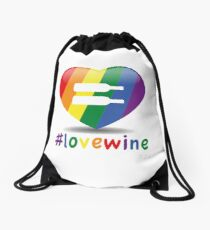 #lovewine (white shadow) Drawstring Bag