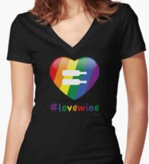 #lovewine (black shadow) Women's Fitted V-Neck T-Shirt