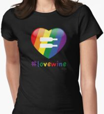 #lovewine (black shadow) Women's Fitted T-Shirt