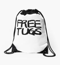 FREE TUGS (black) Drawstring Bag