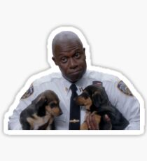 Captain Holt with puppies Sticker