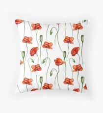 Poppies pattern Throw Pillow