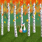 Cats - Forest - Birch Trees - Fall by Cristina Bianco Design