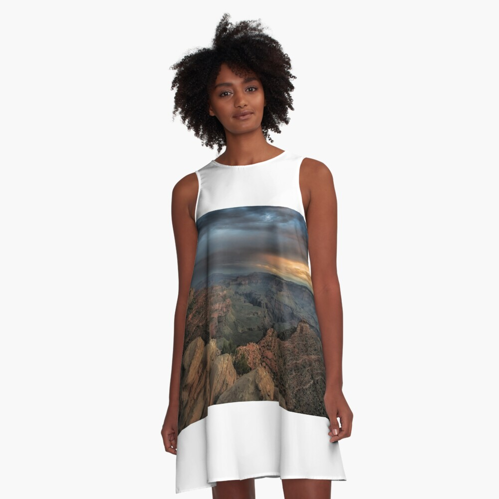 Sunrise rainbow in the Grand Canyon, Arizona. A-Line Dress Front