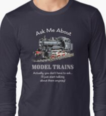 "Funny Model Train Fan ""Ask me about model trains"" T-Shirt"