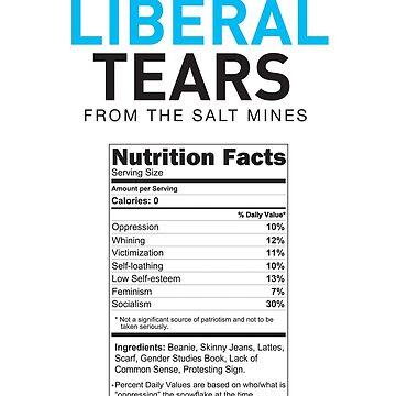 Liberal/Democrat Tears Funny Joke Supplement Facts - Online Store by iresist