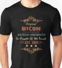 Vintage Bitcoin Tshirt Original Bitcoin Satoshi Nakamoto Est. 2009 Unisex T-Shirt