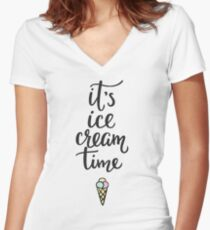It's Ice Cream Time // Ice Cream Cone Women's Fitted V-Neck T-Shirt
