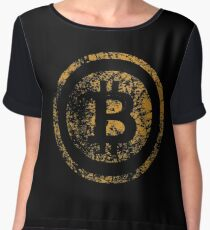 Vintage Bitcoin Logo Grunge Tshirt  Chiffon Top