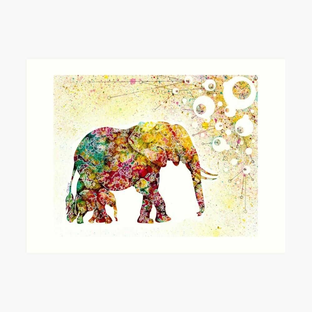 """Forever Young"" Elephant Mutter und Baby Kunstdruck"