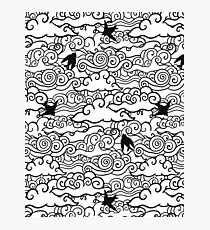 Doodle clouds and swallows. Cloudscape pattern with birds. Photographic Print