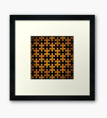 PUZZLE1 BLACK MARBLE & YELLOW GRUNGE Framed Print