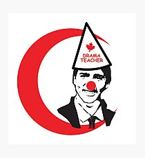 Trudeau Drama Teacher Clown nose & hat Canada Prime Minister Liberal with Moon Red Religion of Peace Crescent Photographic Print