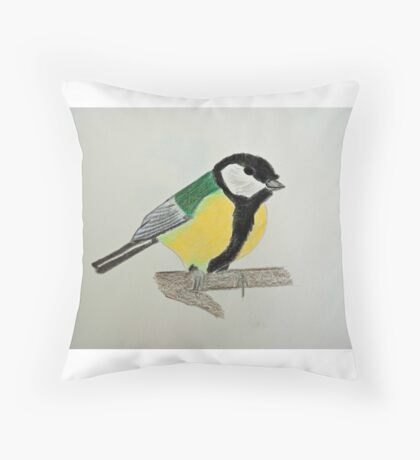 Great Tit Coloured Pencil Drawing Throw Pillow