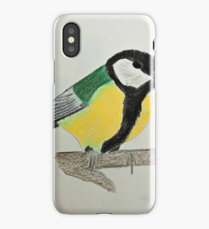 Great Tit Coloured Pencil Drawing iPhone Case