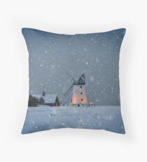 Snow on Lytham Green Throw Pillow