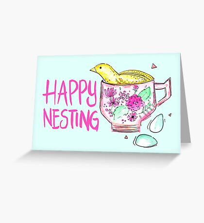 Quail in a Teacup - Happy Nesting Greeting Card