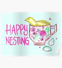 Quail in a Teacup - Happy Nesting Poster