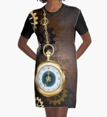 Brown Background with the Clock ( Steampunk ) Graphic T-Shirt Dress