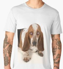 Sad looking Basset Hound dog Men's Premium T-Shirt