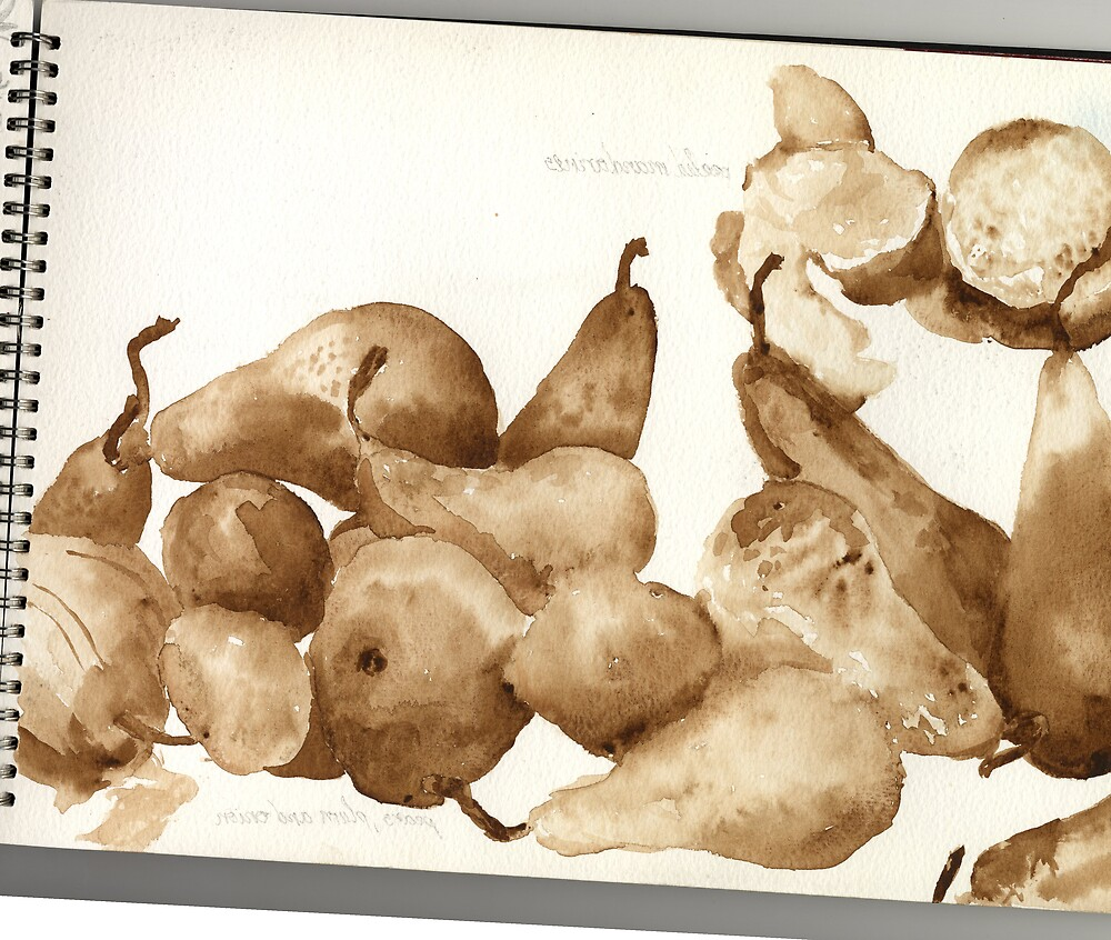 watercolour pears by ieva andersone