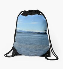 Sea view from Fairlie Drawstring Bag