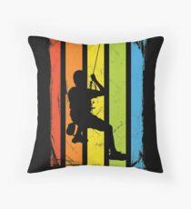 Rainbow Rock Climbing Distressed Throw Pillow