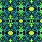 Monstera Leaves & Limes, Floral Pattern, Black Green Teal by clipsocallipso