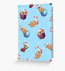 Christmas Tiny Little Baby Sloths with Santa Hats Wrapping Paper Pattern Greeting Card