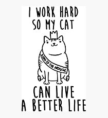i work hard so my cat can live a better life Photographic Print