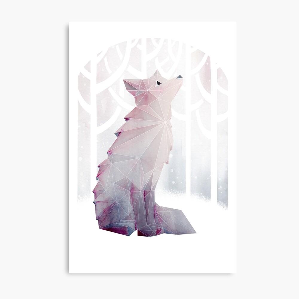 Fox en la nieve Lámina metálica