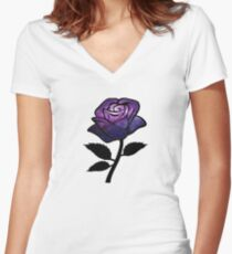 Galaxy Rose Women's Fitted V-Neck T-Shirt