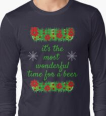 Wonderful Time for a Beer Christmas Funny Long Sleeve T-Shirt