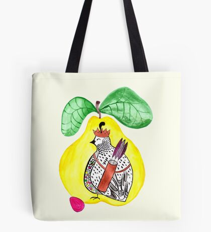 Quail in a Quince Tote Bag