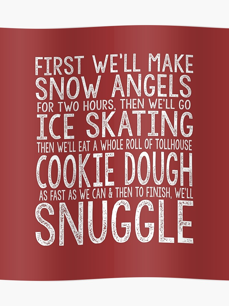 FIRST WE'LL MAKE SNOW ANGELS Elf Movie Christmas Will Ferrell Funny To-Do  list red white | Poster