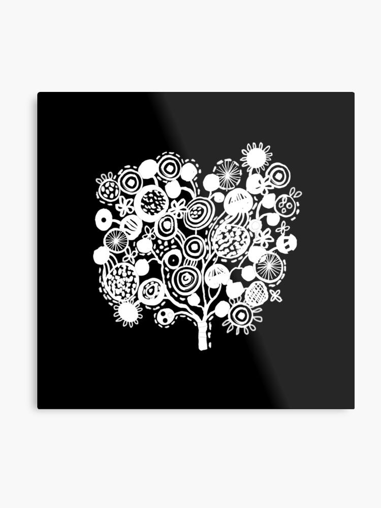Linocut Tree Black And White Minimal Tree Of Life Art Square Art Print Metal Print