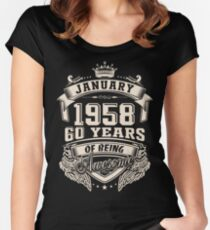 Born in January 1958 Women's Fitted Scoop T-Shirt