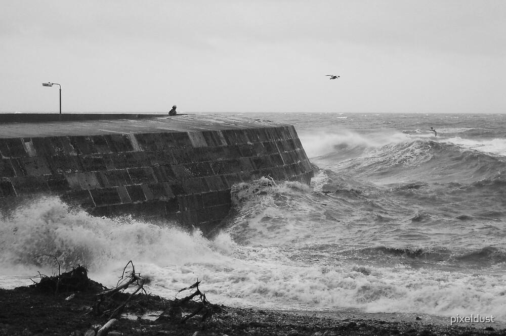 Storm at the cob Lyme Regis by pixeldust