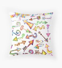 Watercolor Arrow Pointers Throw Pillow