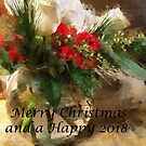 Merry Christmas Flowers Happy 2018 by Claire Bull
