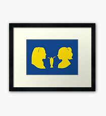 Milkshake Silhouette (V+B   Yellow) Framed Print