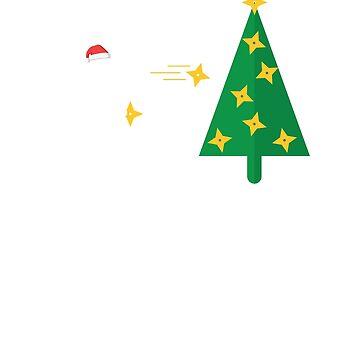 Ninja Christmas Tree Throwing Stars T-Shirt by albertellenich