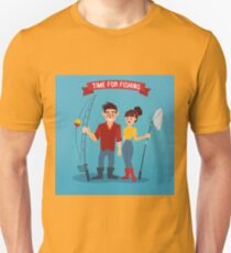 Man and Woman Fishers. Time for Fishing. Man with Fishing Rod. Active People.  Unisex T-Shirt
