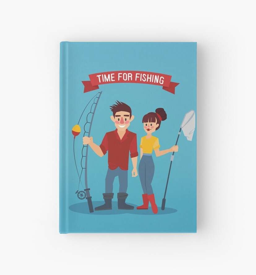 Man and Woman Fishers. Time for Fishing. Man with Fishing Rod. Active People.  by ivector